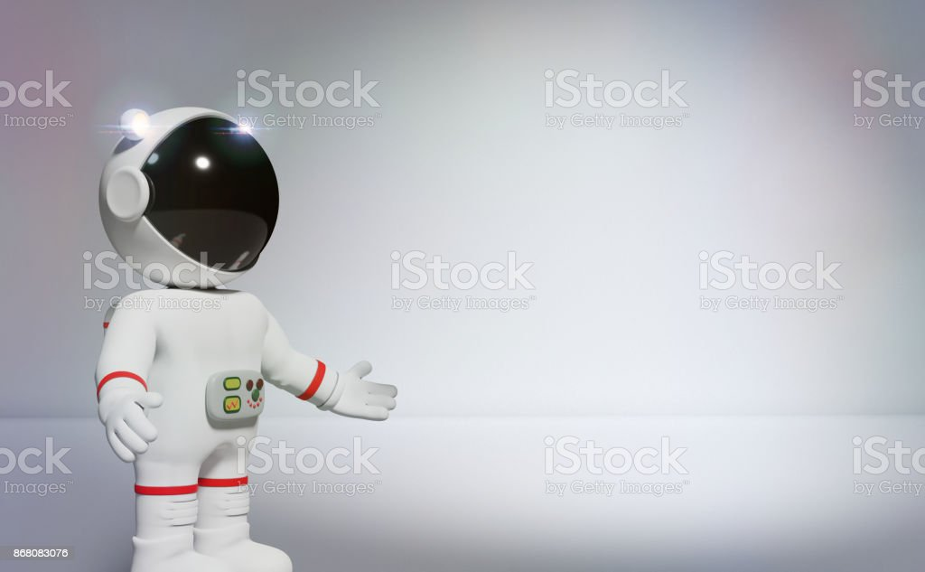 3d cartoon astronaut presenting an empty white space with spotlight (3d illustration) stock photo