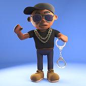 3d cartoon black hip hop rapper in baseball cap holding a pair of handcuffs, 3d illustration render