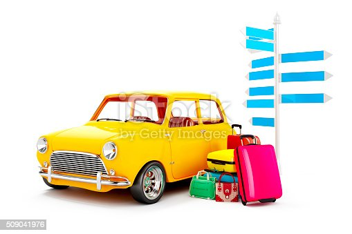 istock 3d cartoon car and luggage, travel concept 509041976