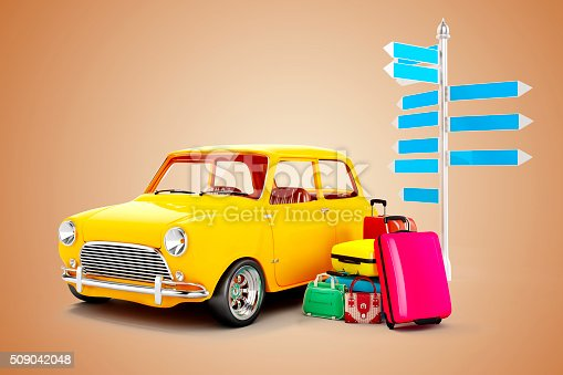 istock 3d cartoon car and luggage, travel concept 509042048