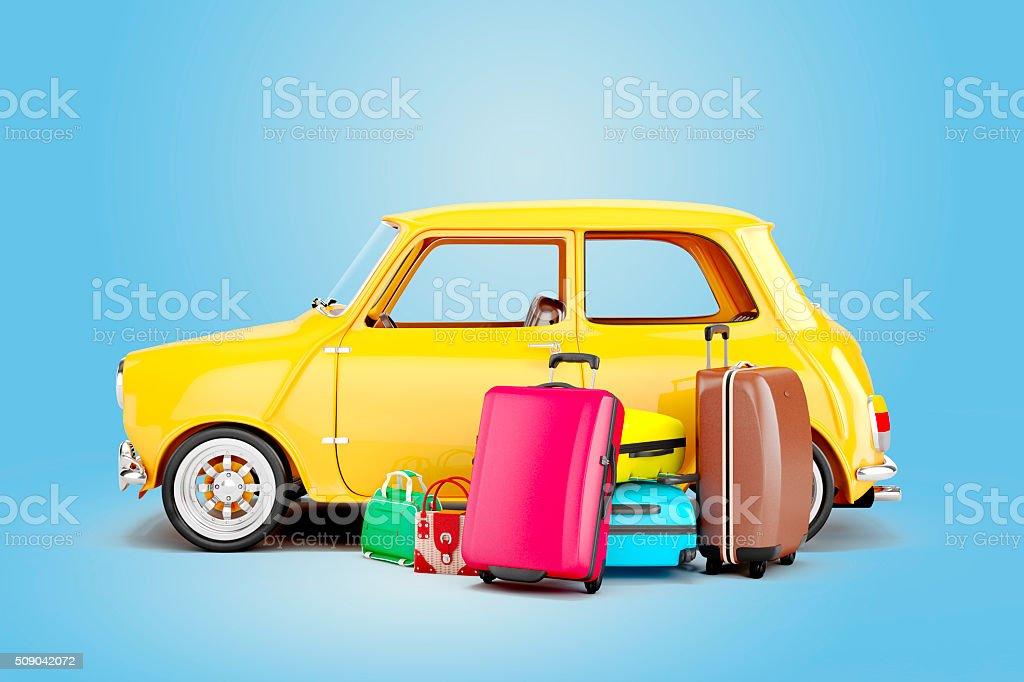 3 d cartoon-Auto und Ihr Gepäck, Reisen Konzept – Foto