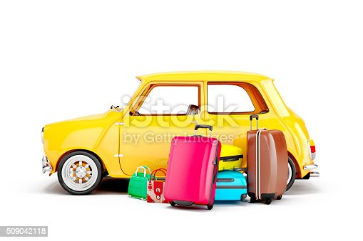 istock 3d cartoon car and luggage, travel concept 509042118