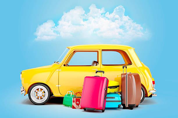 dessin animé 3d de voiture et de vos bagages, concept de voyage - valise humour photos et images de collection