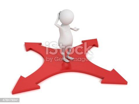 istock 3d cartoon character choosing path red arrows cross 476479341