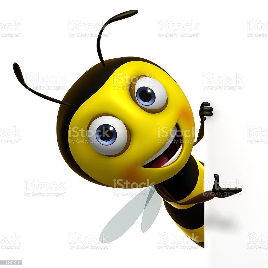 3d cartoon cute bee stock photo
