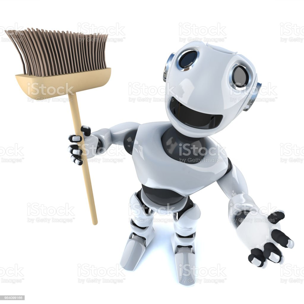 3d Cartoon robot man holding a broom stock photo