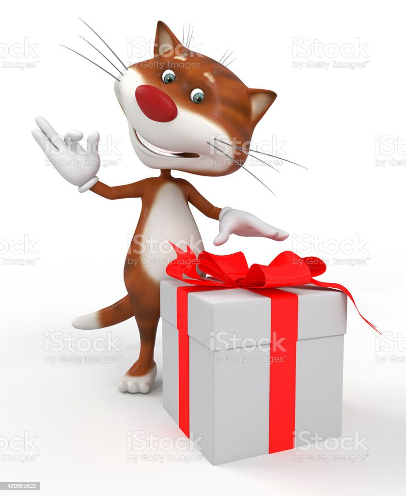 3d cat with a gift. stock photo