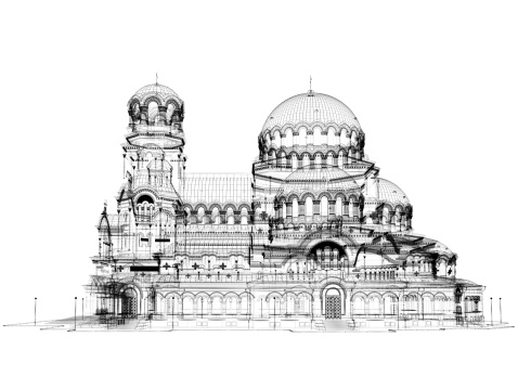 3d Cathedral Model Wireframe Stock Photo & More Pictures