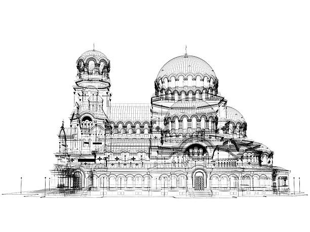 Royalty free blueprint church pictures images and stock photos istock 3d cathedral model wireframe stock photo malvernweather Choice Image