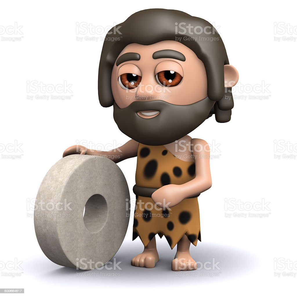 3d Caveman invents the wheel stock photo