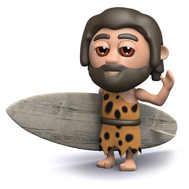 3 d caveman ist surfen - digital surfer stock-fotos und bilder
