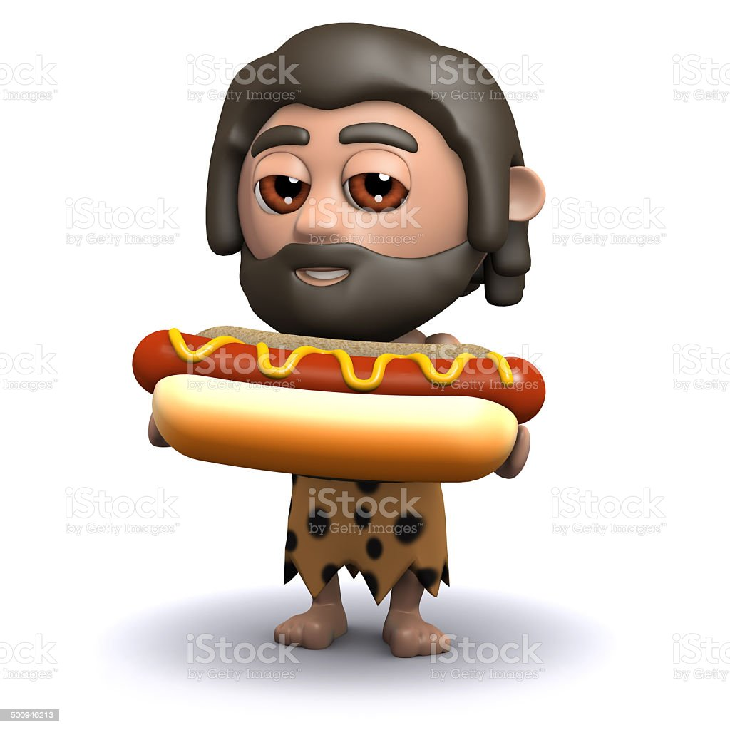3d Caveman with a hot dog royalty-free stock photo