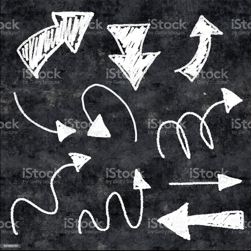 3d chalk arrows on grunge background stock photo