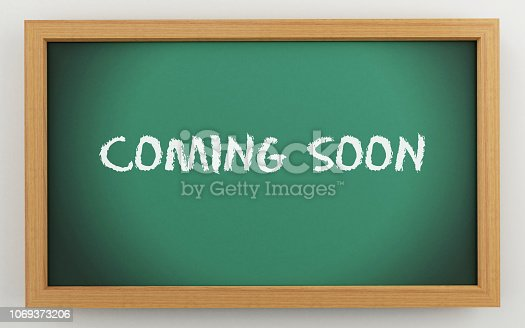 843847560 istock photo 3d chalkboard with coming soon text 1069373206