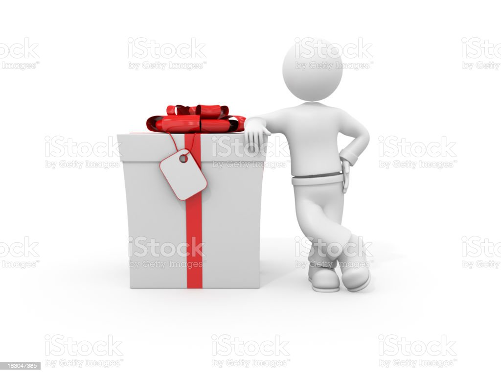 3d character leaning on gift box. royalty-free stock photo
