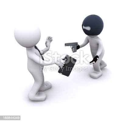 istock 3d character robbing a businessman 185844049