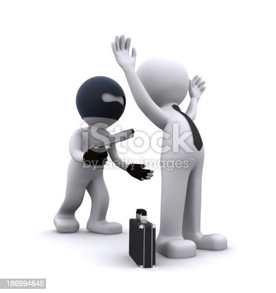 istock 3d character robbing a businessman 186994645