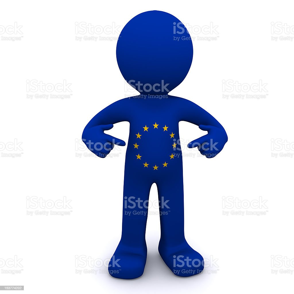 3d character textured with  flag of European Union royalty-free stock photo