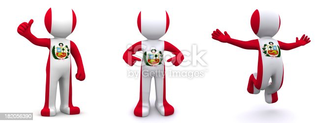 istock 3d character textured with flag of Peru 182056390