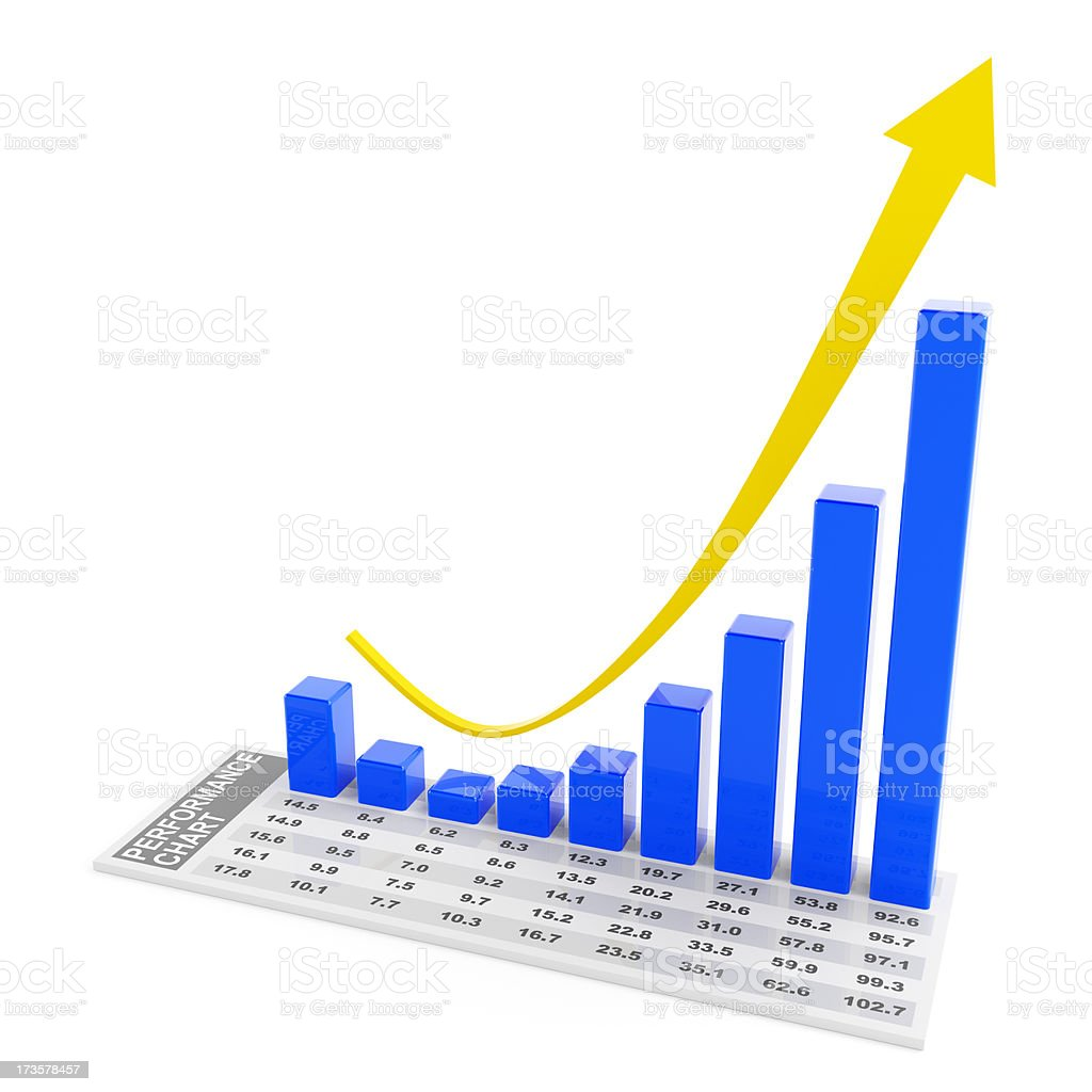 3d chart with fall and rebound royalty-free stock photo