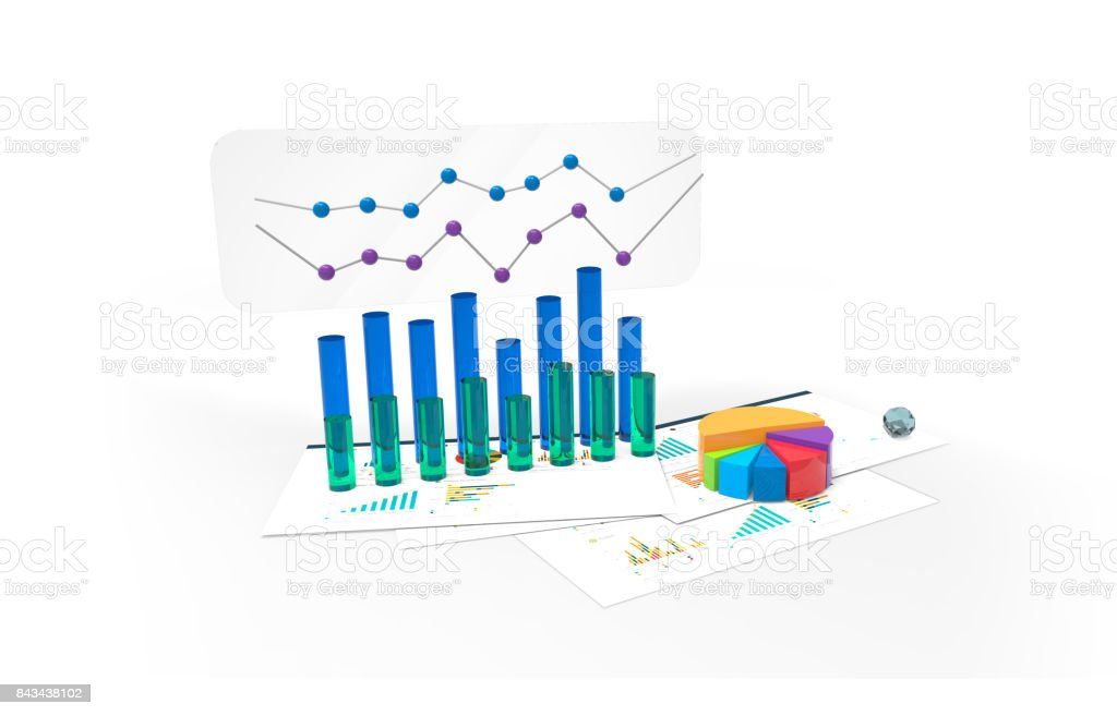 3d charts, analysis of financial data stock photo
