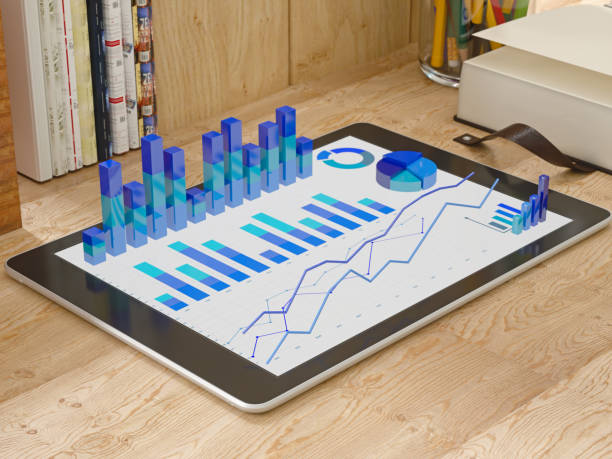 3d charts on a tablet stock photo