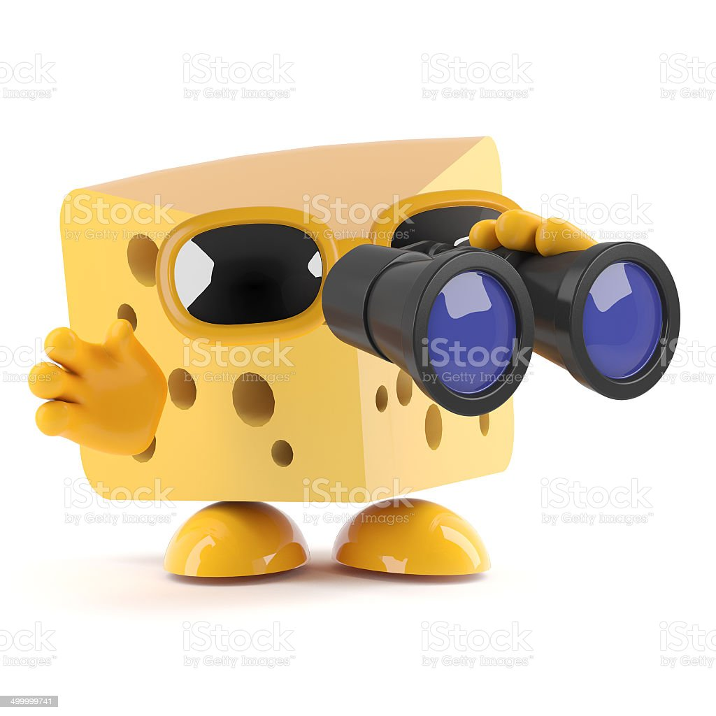 3d Cheese looks for the perfect accompaniment royalty-free stock photo