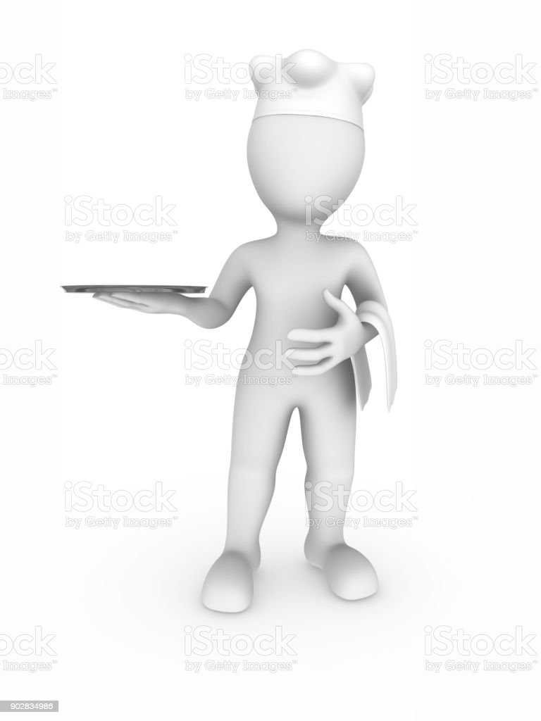 3d chef with tray in hands stock photo