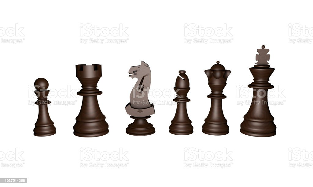 3d. chess game pieces, figures. stock photo