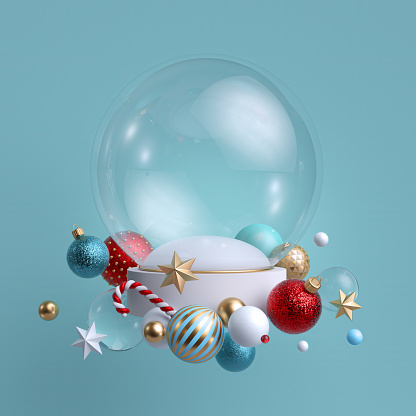 3d Christmas background. Glass ball decorated with festive ornaments. Blank mockup. Glass balls, crystal stars, candy cane.