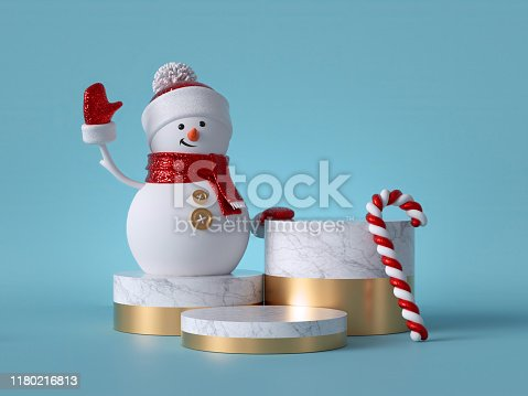 istock 3d Christmas background. Snowman standing on marble pedestal, decorated with candy cane. Blank round podium, empty space. Cylinder platform steps. Product showcase mockup. 1180216813