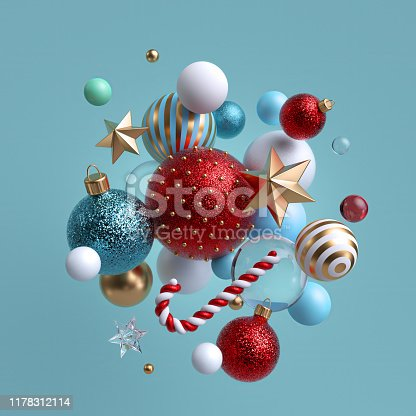 istock 3d Christmas background. Winter holiday ornaments levitating. Red blue white glass balls, candy cane, golden stars isolated. Festive clip art. Arrangement of levitating objects. 1178312114