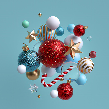 3d Christmas background. Winter holiday ornaments levitating. Red blue white glass balls, candy cane, golden stars isolated. Festive clip art. Arrangement of levitating objects.