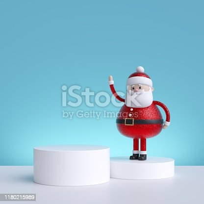 istock 3d Christmas background with Santa Claus standing on pedestal. Blank product display. Winter holiday commercial mockup with copy space 1180215989