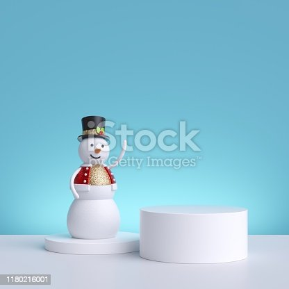 istock 3d Christmas background with snowman standing on pedestal. Blank product display. Winter holiday commercial mockup with copy space. 1180216001