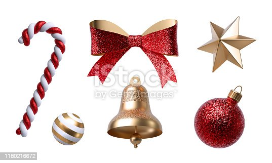 istock 3d Christmas clip art. Set of design elements, isolated on white background. Golden bell, paper bow, red ribbon, candy cane, glass ball ornament. 1180216672