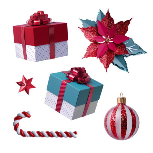 3d weihnachten clipart. satz von designelementen, isoliert auf weißem hintergrund. geschenk-bogen, rotes papier poinsettia blume, zuckerrohr, glaskugel ornament. - weihnachtssterne aus papier stock-fotos und bilder