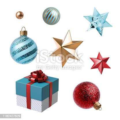 istock 3d Christmas clip art. Set of design elements, isolated on white background. Gift box, golden star, red and blue glass balls ornaments. 1182427529