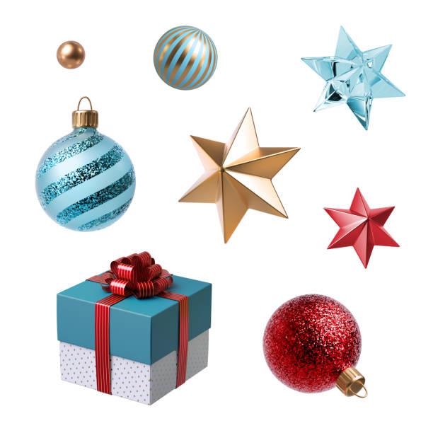 3d weihnachten clipart. satz von designelementen, isoliert auf weißem hintergrund. geschenk-box, goldenen stern, rote und blaue glaskugeln ornamente. - weihnachtssterne aus papier stock-fotos und bilder