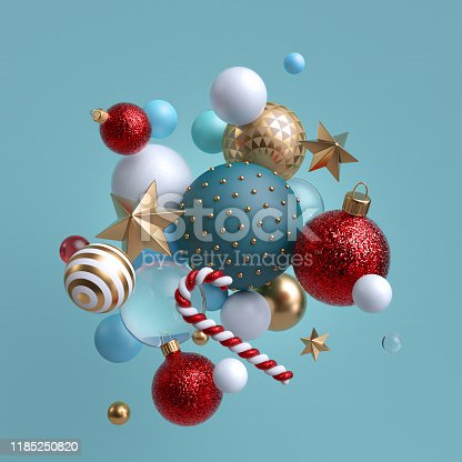 istock 3d Christmas ornaments levitating. Red blue white glass balls, candy cane, golden stars isolated on blue background. Arrangement of levitating objects. Winter holiday clip art. 1185250820