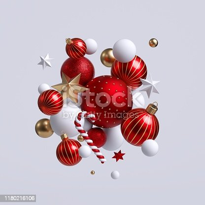 istock 3d Christmas ornaments, red and gold balls, stars and candy cane. Seasonal festive clip art, isolated on white background. Abstract holiday concept. 1180216106