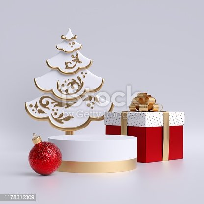 istock 3d Christmas tree, empty podium or pedestal, red glass ball, gift box isolated on white background. Copy space. Cylinder platform. Product display mockup. Commercial mockup with seasonal decor. 1178312309