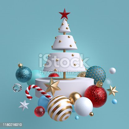 istock 3d Christmas tree ornaments levitating, isolated on blue background. Winter holiday decor: festive glass balls, golden stars, candy cane, snowballs. Greeting card. Composition of levitating objects. 1180216010