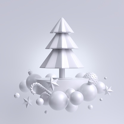 3d Christmas white background, fir tree decorated with ornaments. Winter holiday decor: snow balls, paper stars, candy cane. Composition of levitating objects