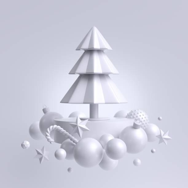 3d noel beyaz arka plan, köknar ağacı süsler ile süslenmiş. kış tatil dekor: kar topları, kağıt yıldız, şeker kamışı. levitating nesnelerin bileşimi - tasarım öğesi stok fotoğraflar ve resimler