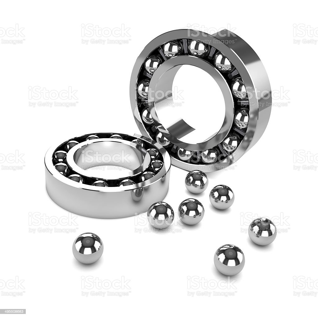 3d Chrome bearings disassembled stock photo