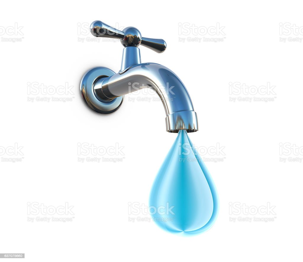 3d Chrome water tap drips stock photo