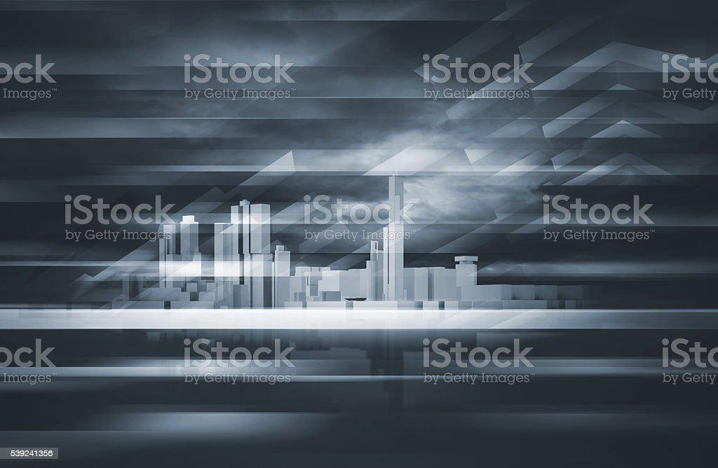 3d cityscape skyline and dark dramatic sky royalty-free stock photo
