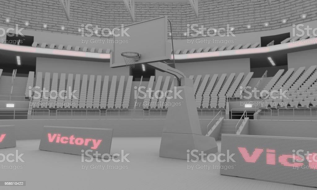 renderização 3D de argila do estádio de basquetebol com luzes - foto de acervo