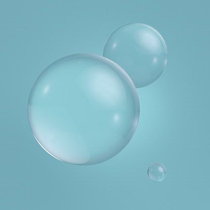 3d clear glass balls, transparent bubbles, isolated on blue background. Clean style